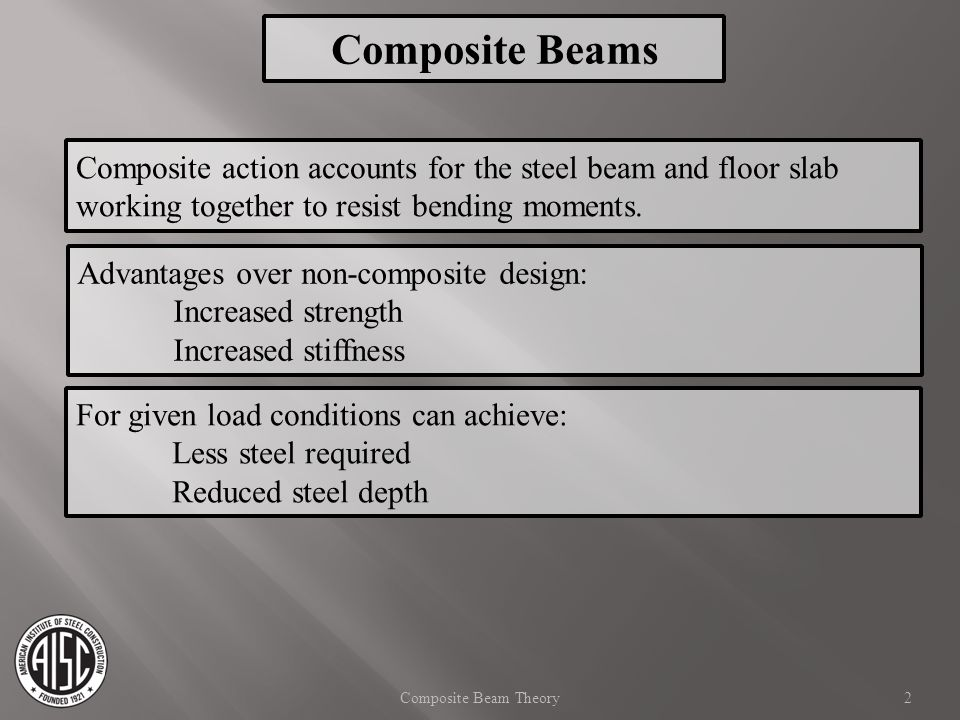Composite Beams Composite action accounts for the steel beam and floor slab working together to resist bending moments.
