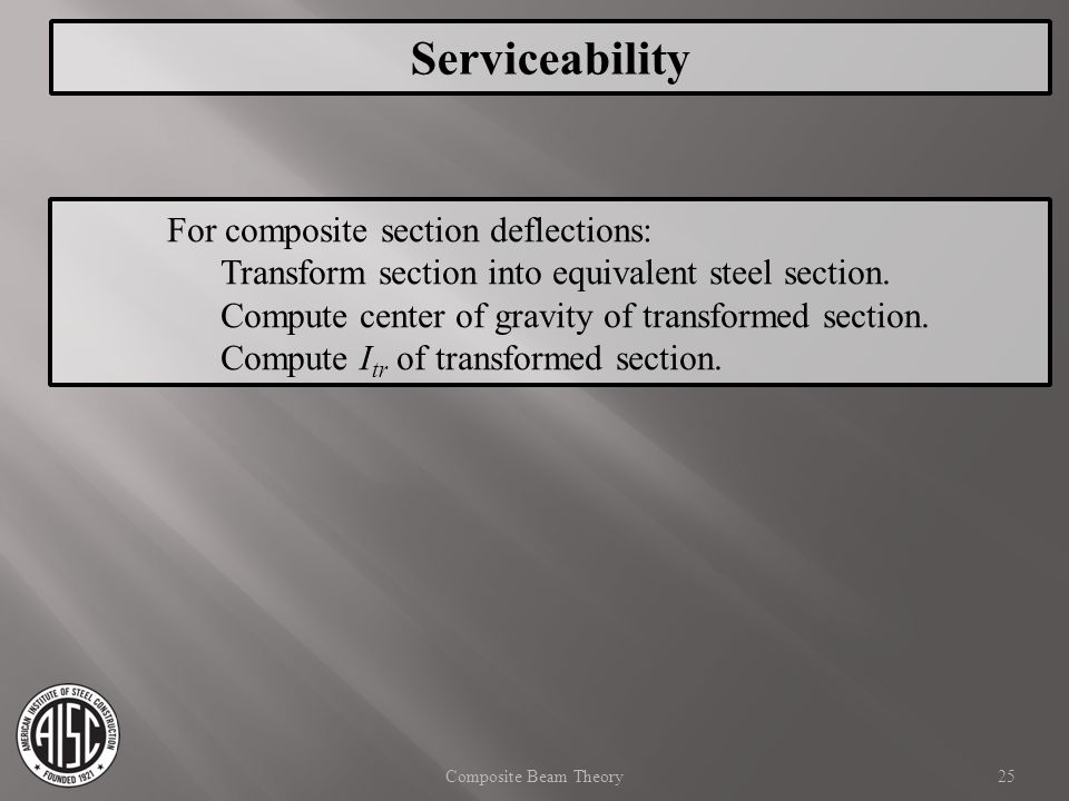 Serviceability For composite section deflections: