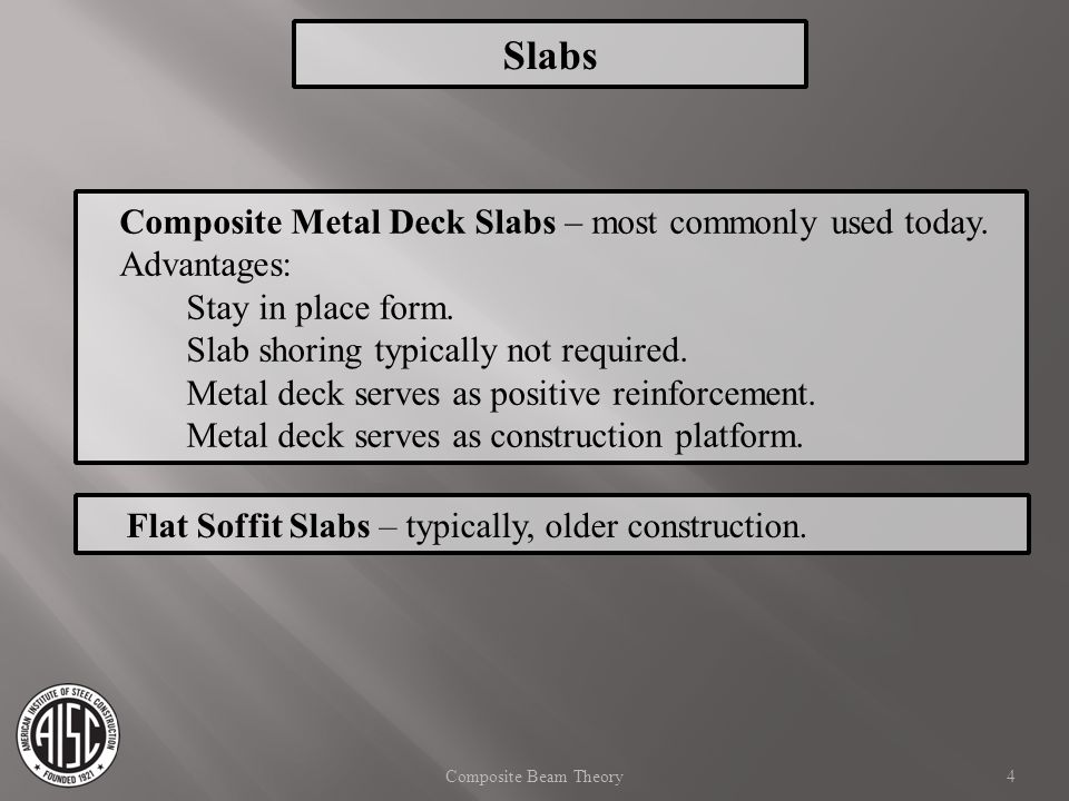 Slabs Composite Metal Deck Slabs – most commonly used today.