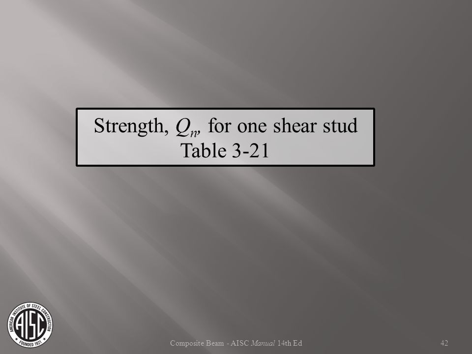 Strength, Qn, for one shear stud Table 3-21