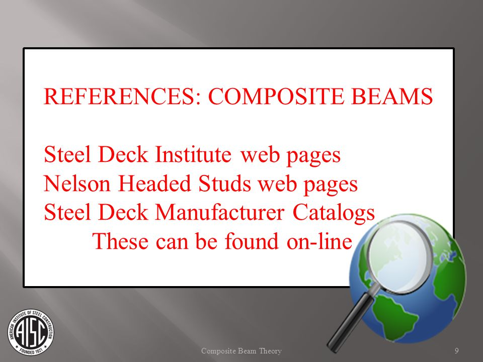 REFERENCES: COMPOSITE BEAMS Steel Deck Institute web pages