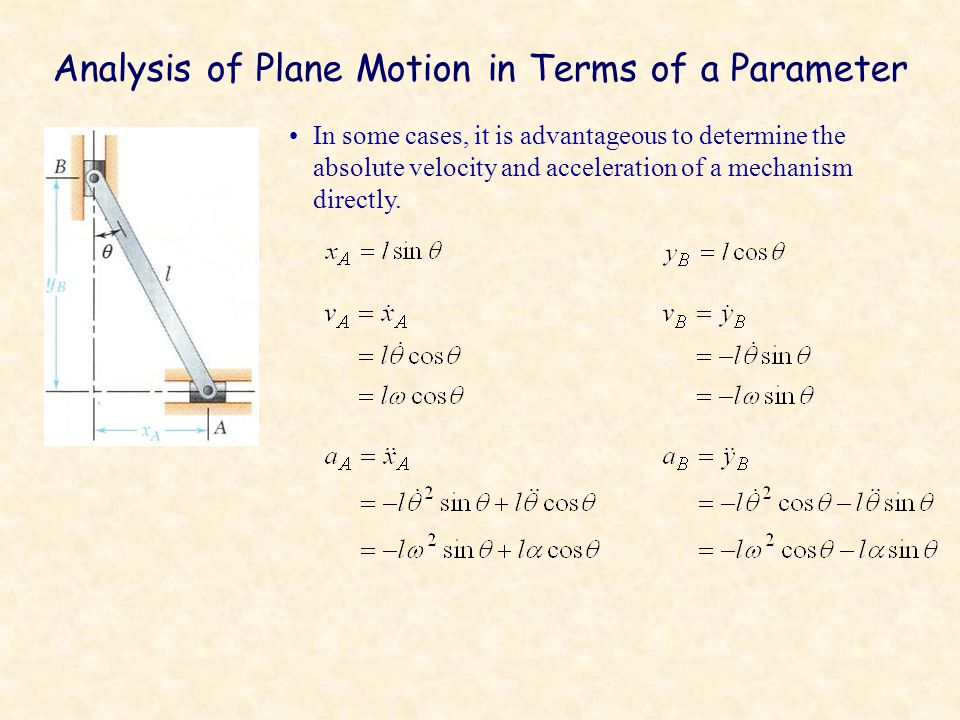 Analysis of Plane Motion in Terms of a Parameter