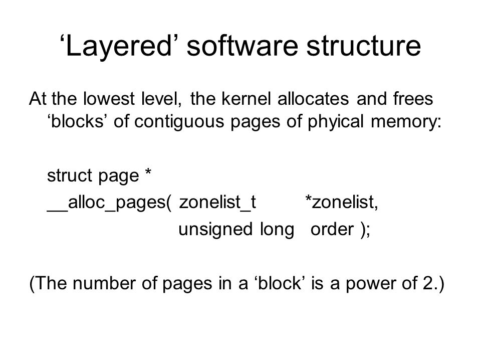 'Layered' software structure