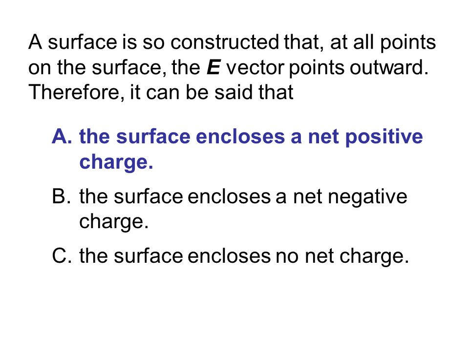 A surface is so constructed that, at all points on the surface, the E vector points outward. Therefore, it can be said that