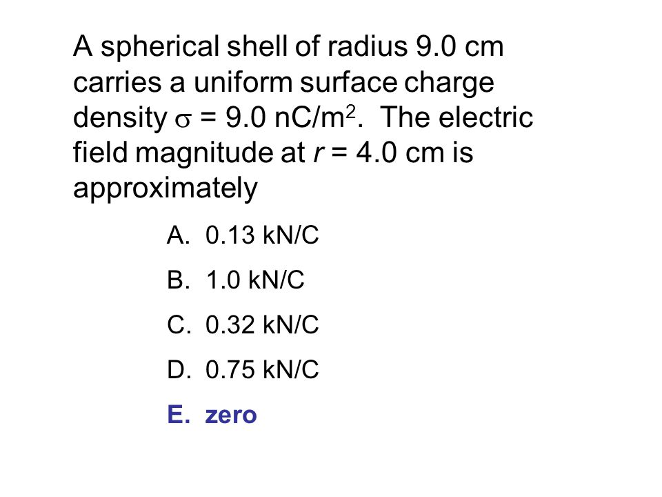 A spherical shell of radius 9