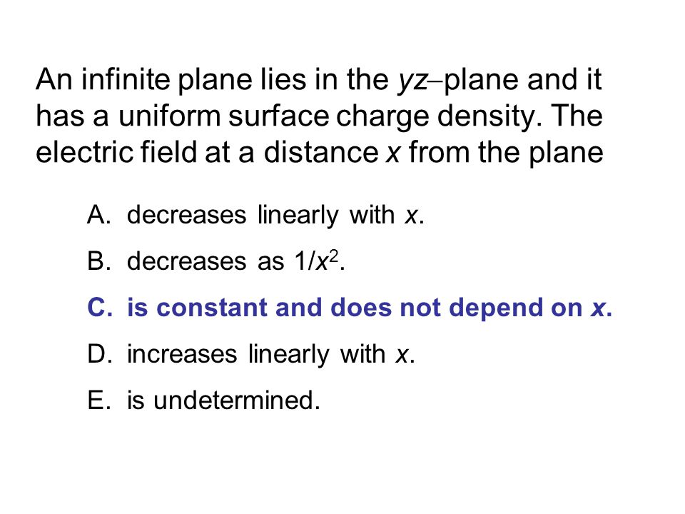 An infinite plane lies in the yzplane and it has a uniform surface charge density. The electric field at a distance x from the plane