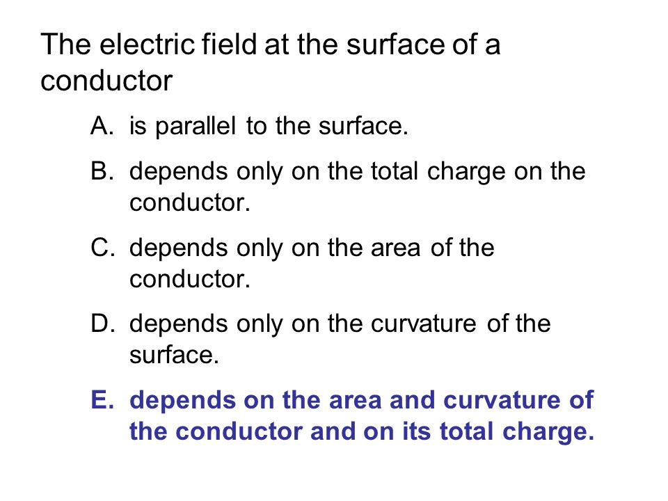 The electric field at the surface of a conductor