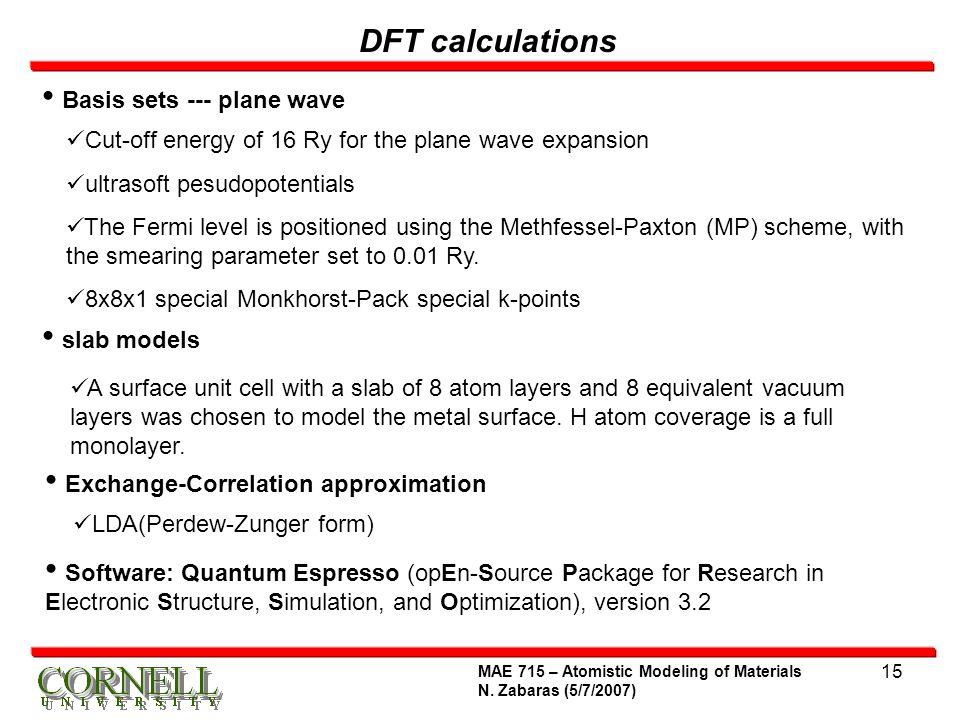 DFT calculations Basis sets --- plane wave