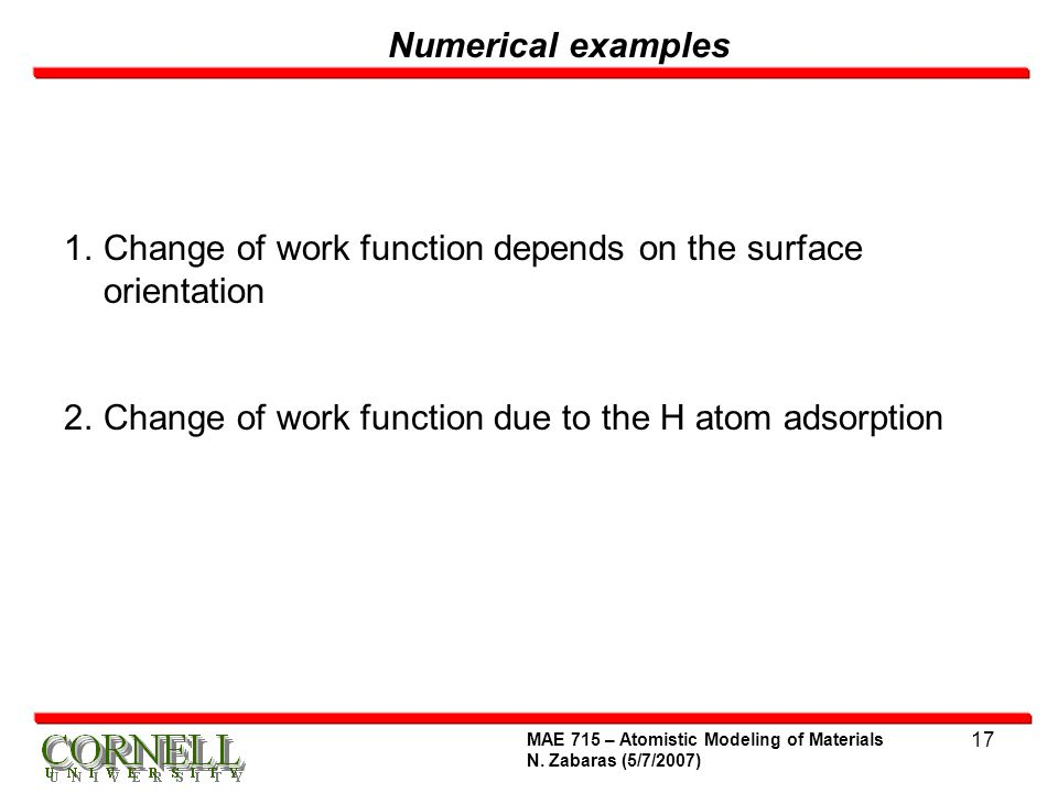 Change of work function depends on the surface orientation
