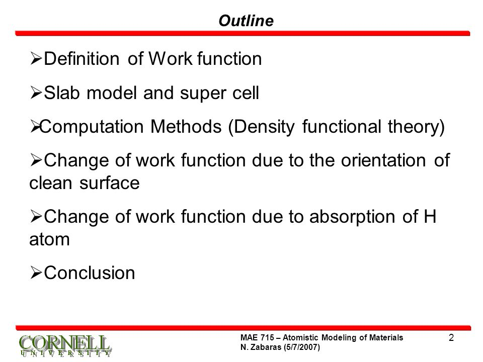 Definition of Work function Slab model and super cell