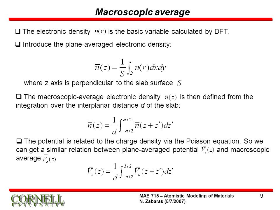 Macroscopic average The electronic density is the basic variable calculated by DFT. Introduce the plane-averaged electronic density: