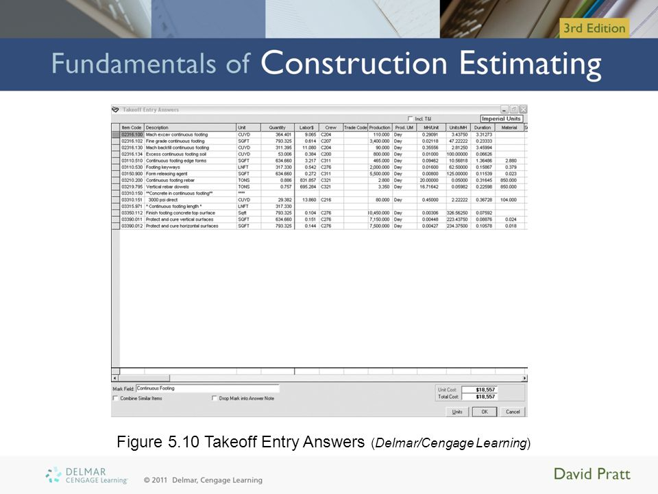 Figure 5.10 Takeoff Entry Answers (Delmar/Cengage Learning)