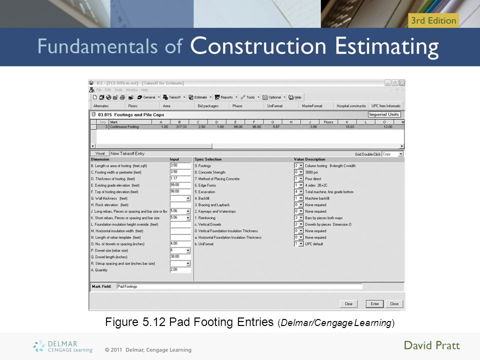 Figure 5.12 Pad Footing Entries (Delmar/Cengage Learning)