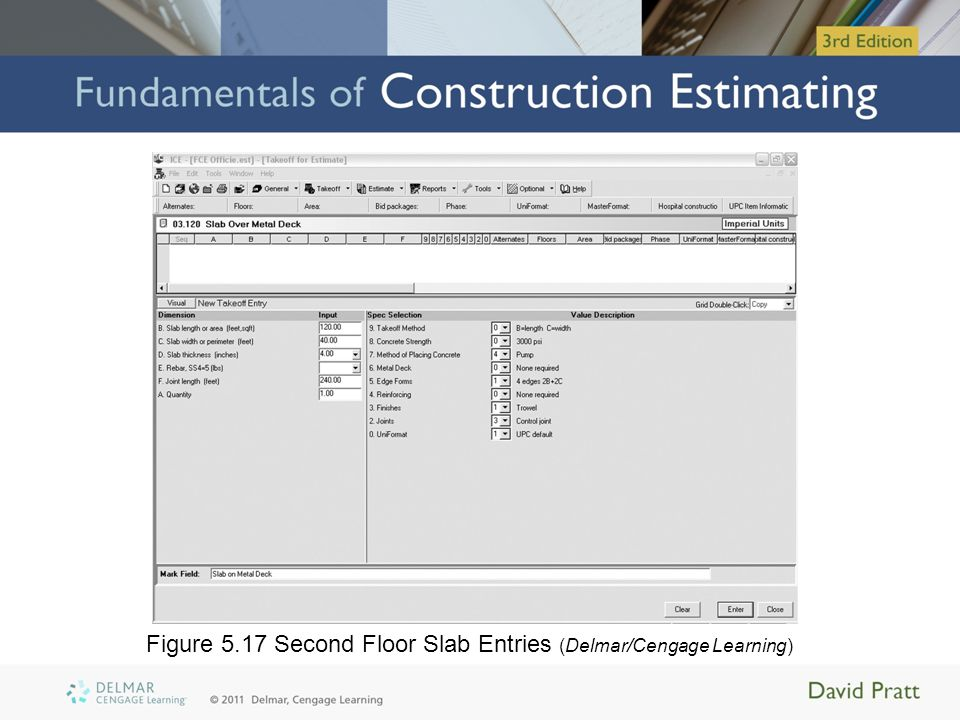 Figure 5.17 Second Floor Slab Entries (Delmar/Cengage Learning)