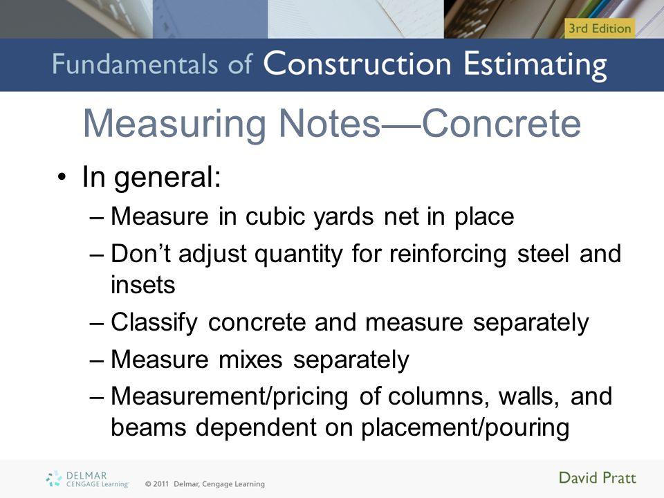 Measuring Notes—Concrete
