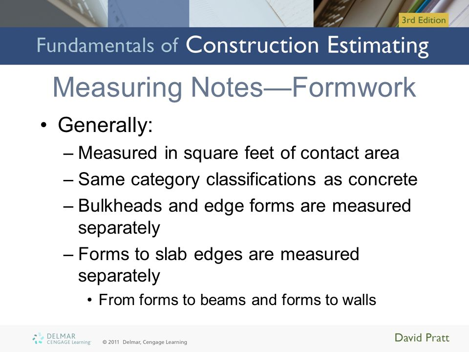 Measuring Notes—Formwork