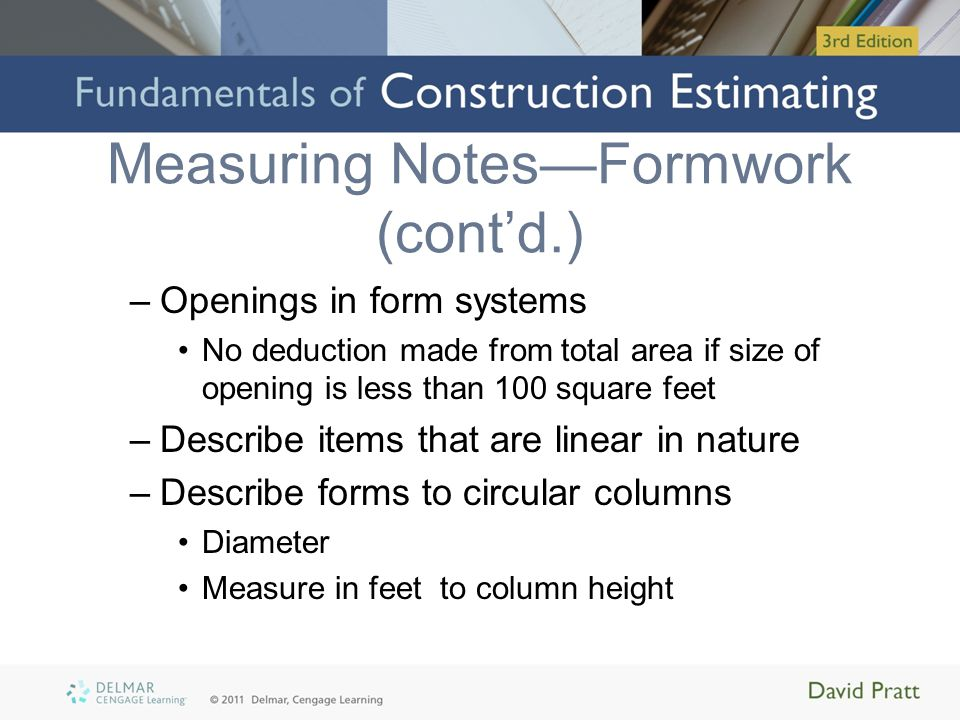 Measuring Notes—Formwork (cont'd.)
