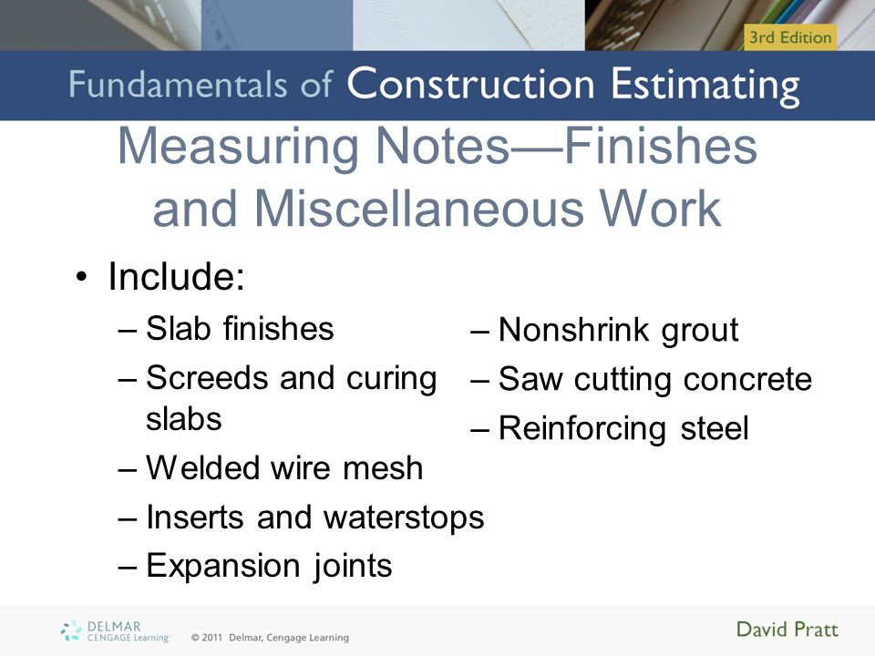 Measuring Notes—Finishes and Miscellaneous Work