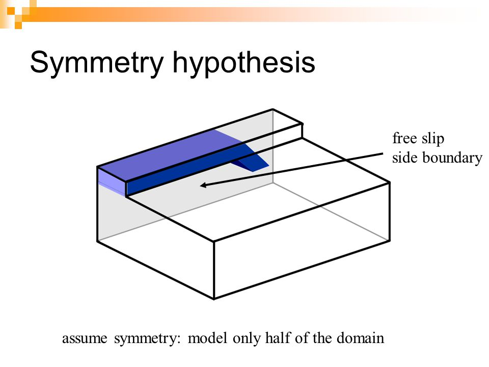Symmetry hypothesis free slip side boundary