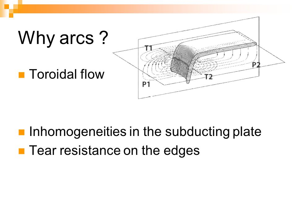 Why arcs Toroidal flow Inhomogeneities in the subducting plate
