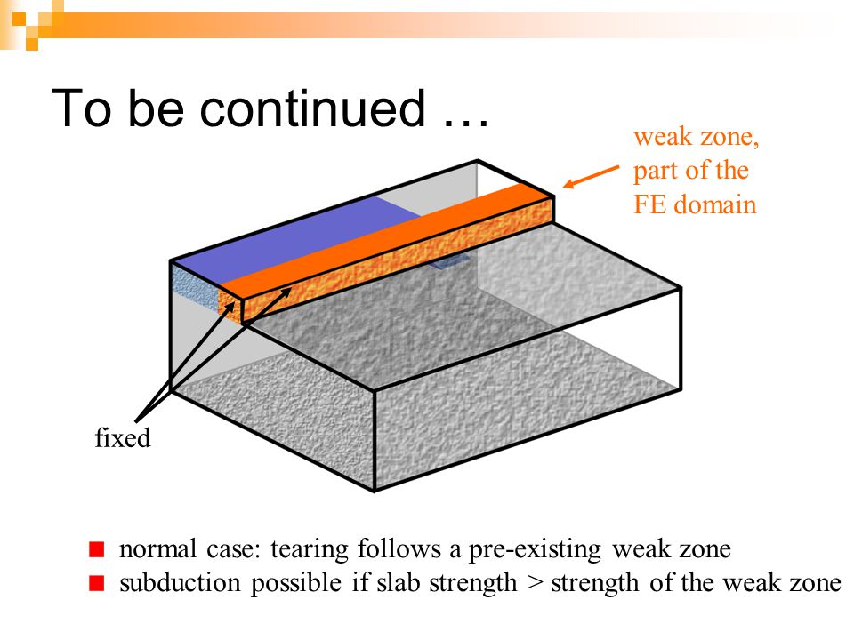 To be continued … weak zone, part of the FE domain fixed
