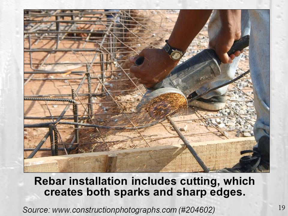 Rebar must be fastened at intersections to keep it evenly spaced.