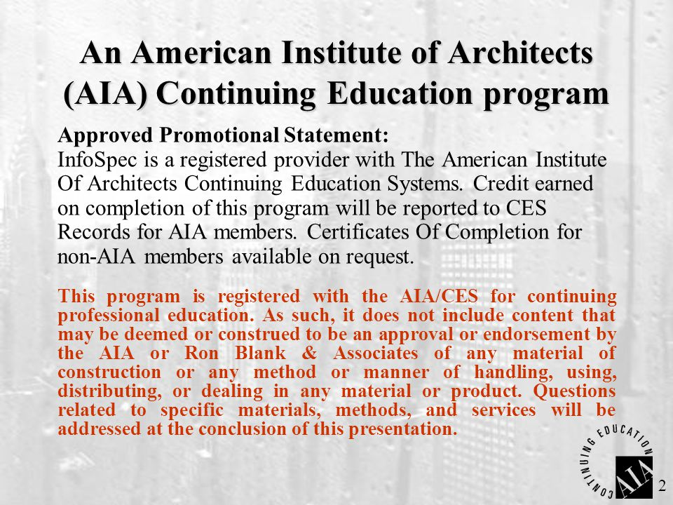 An American Institute of Architects (AIA) Continuing Education program