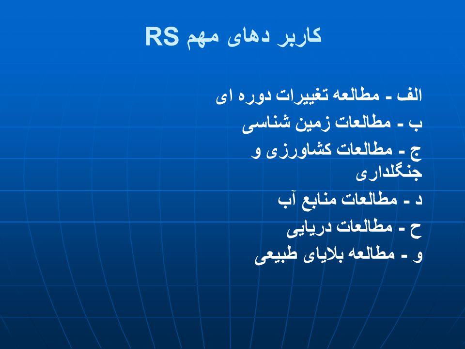 RS کاربر دهای مهم الف - مطالعه تغییرات دوره ای ب - مطالعات زمین شناسی