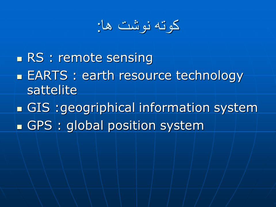 کوته نوشت ها: RS : remote sensing