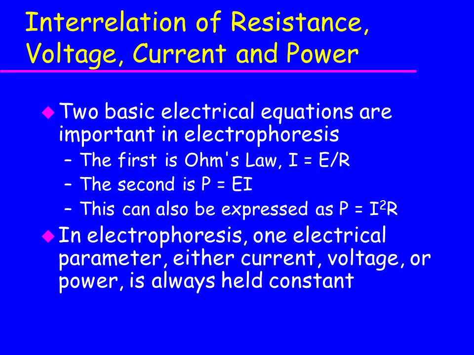 Interrelation of Resistance, Voltage, Current and Power