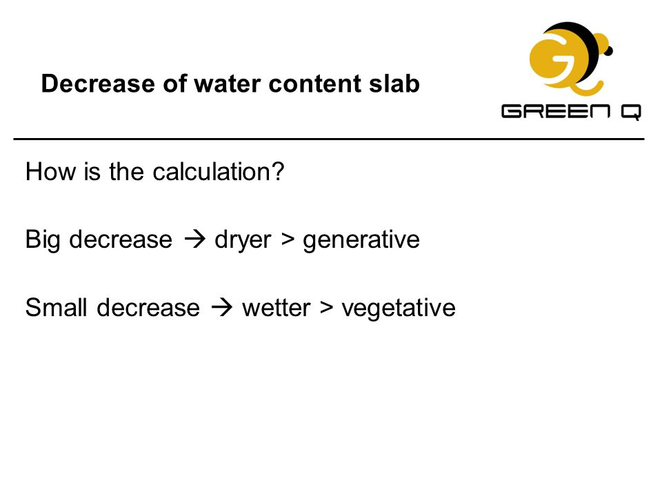 Decrease of water content slab