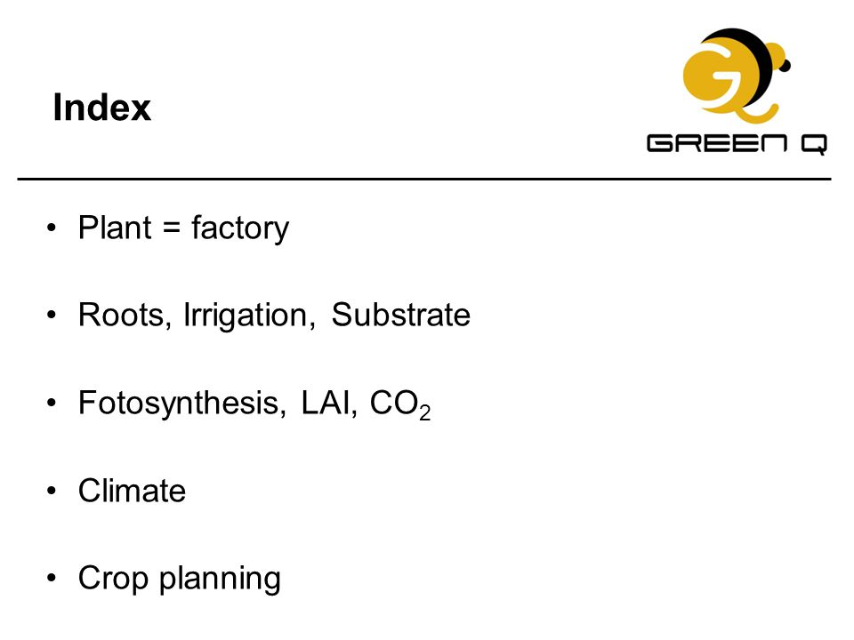 Index Plant = factory Roots, Irrigation, Substrate