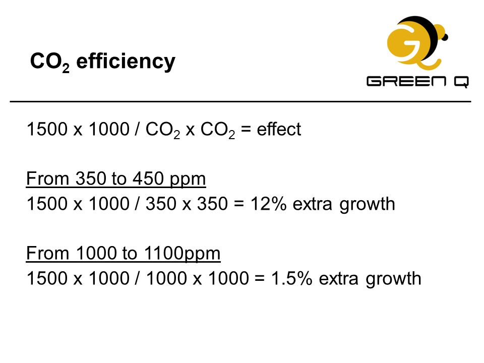 CO2 efficiency 1500 x 1000 / CO2 x CO2 = effect From 350 to 450 ppm