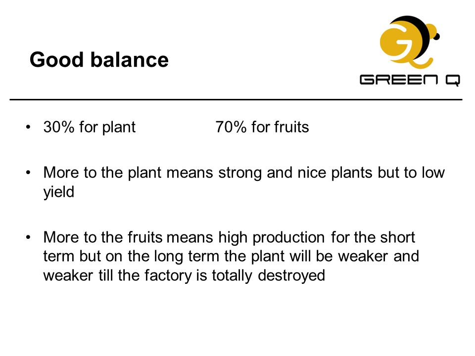 Good balance 30% for plant 70% for fruits