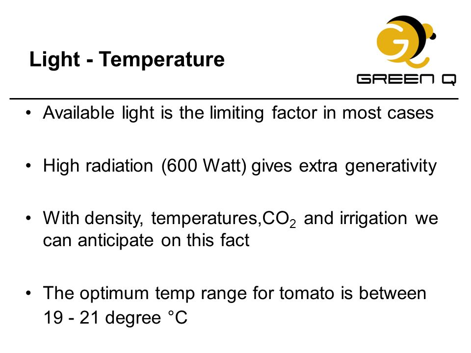 Light - Temperature Available light is the limiting factor in most cases. High radiation (600 Watt) gives extra generativity.