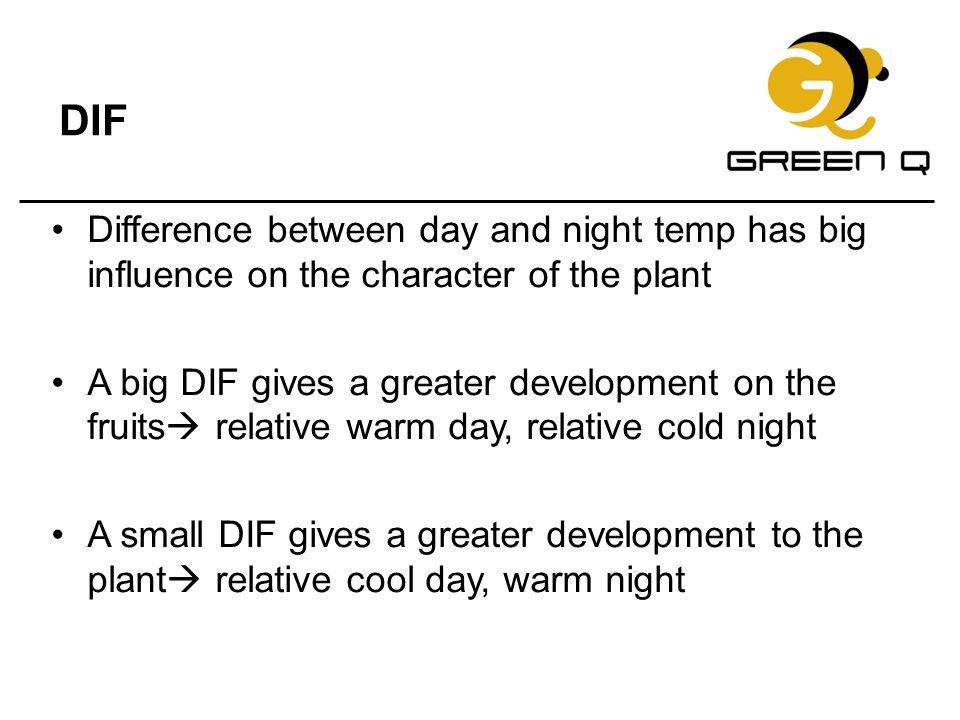 DIF Difference between day and night temp has big influence on the character of the plant.