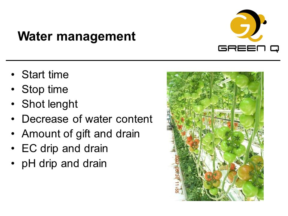 Water management Start time Stop time Shot lenght