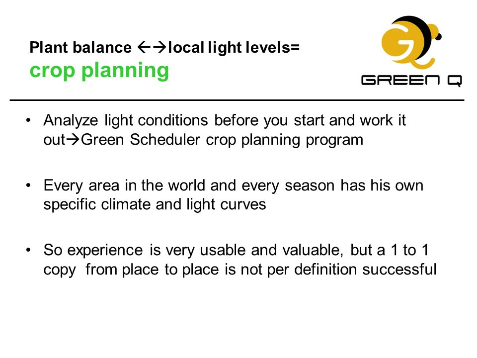 Plant balance local light levels= crop planning
