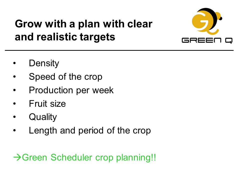 Grow with a plan with clear and realistic targets