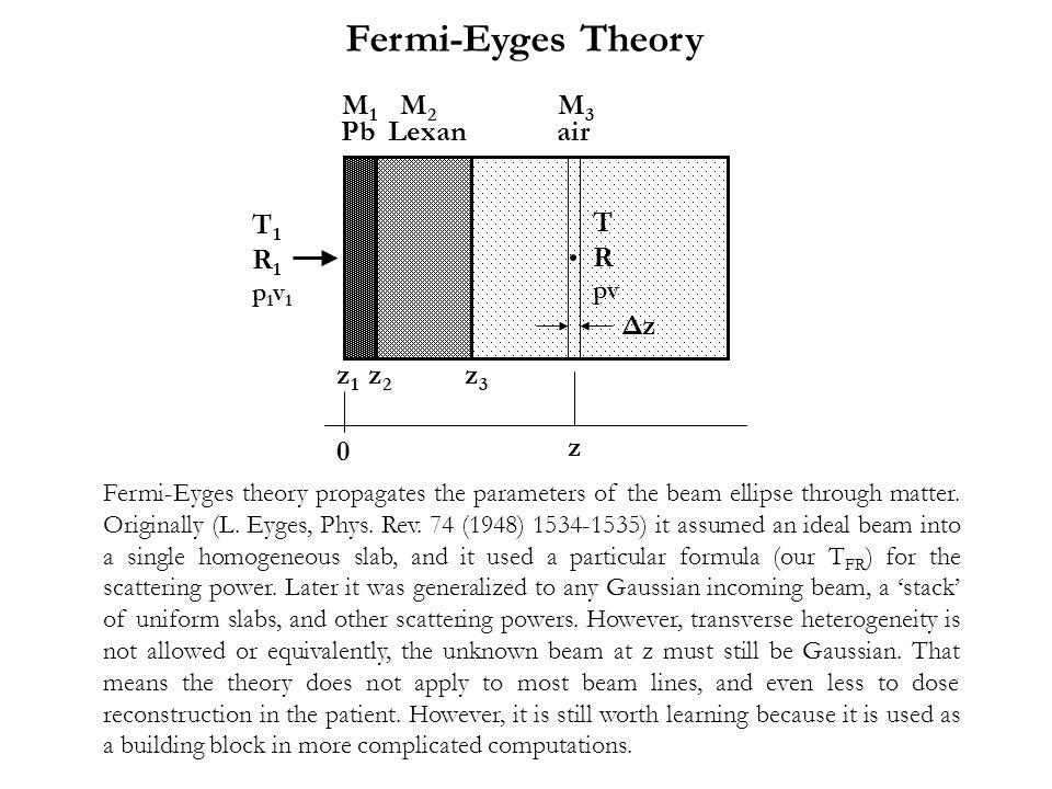 Fermi-Eyges Theory M1 M2 M3 Pb Lexan air T1 R1 T R Δz z1 z2 z3 z p1v1