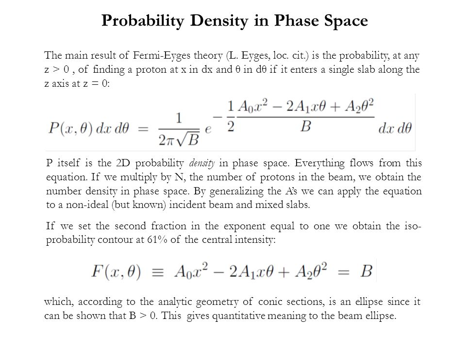 Probability Density in Phase Space