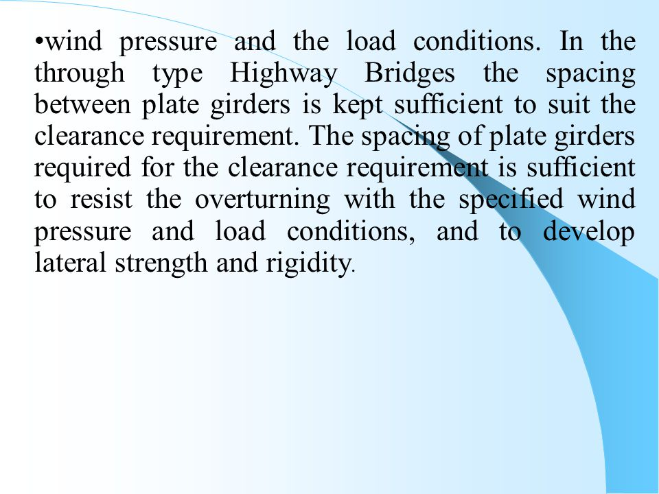 wind pressure and the load conditions