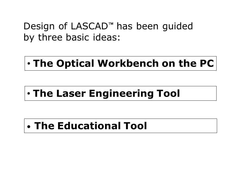 • The Optical Workbench on the PC