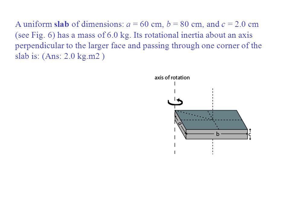 A uniform slab of dimensions: a = 60 cm, b = 80 cm, and c = 2