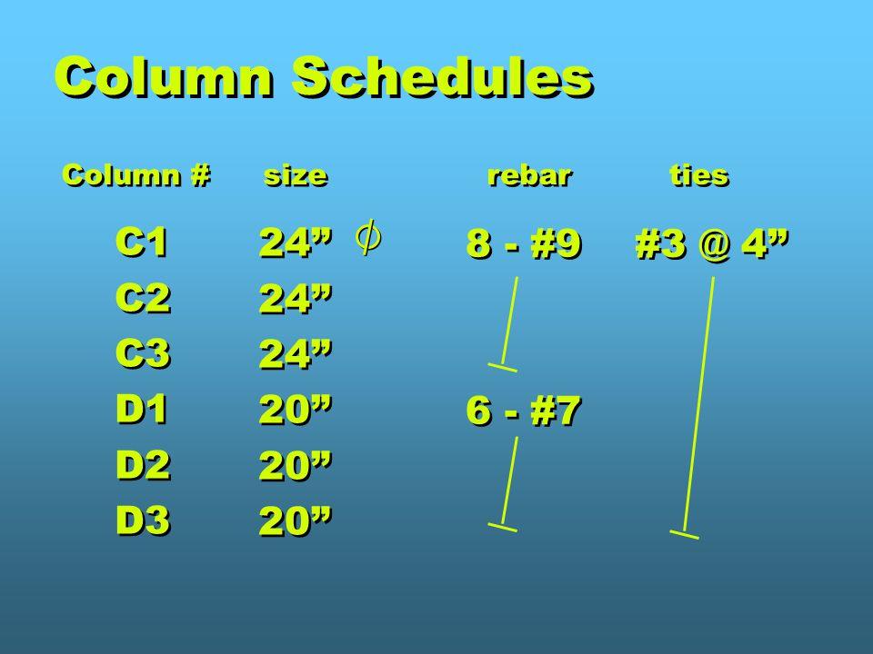 Column Schedules C1 24 8 - #9 #3 @ 4 C2 C3 D1 20 6 - #7 D2 D3