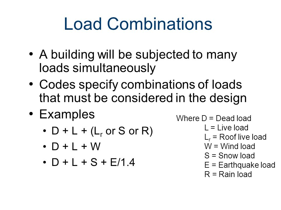 Loads and Load Paths Civil Engineering and Architecture. Unit 3 – Lesson 3.2 - Structures. Load Combinations.