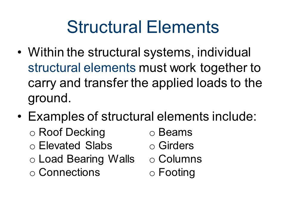 Loads and Load Paths Civil Engineering and Architecture. Unit 3 – Lesson 3.2 - Structures. Structural Elements.