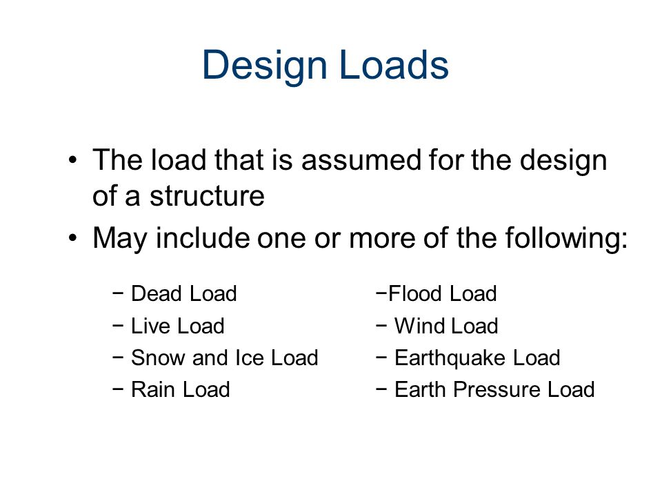 Design Loads The load that is assumed for the design of a structure