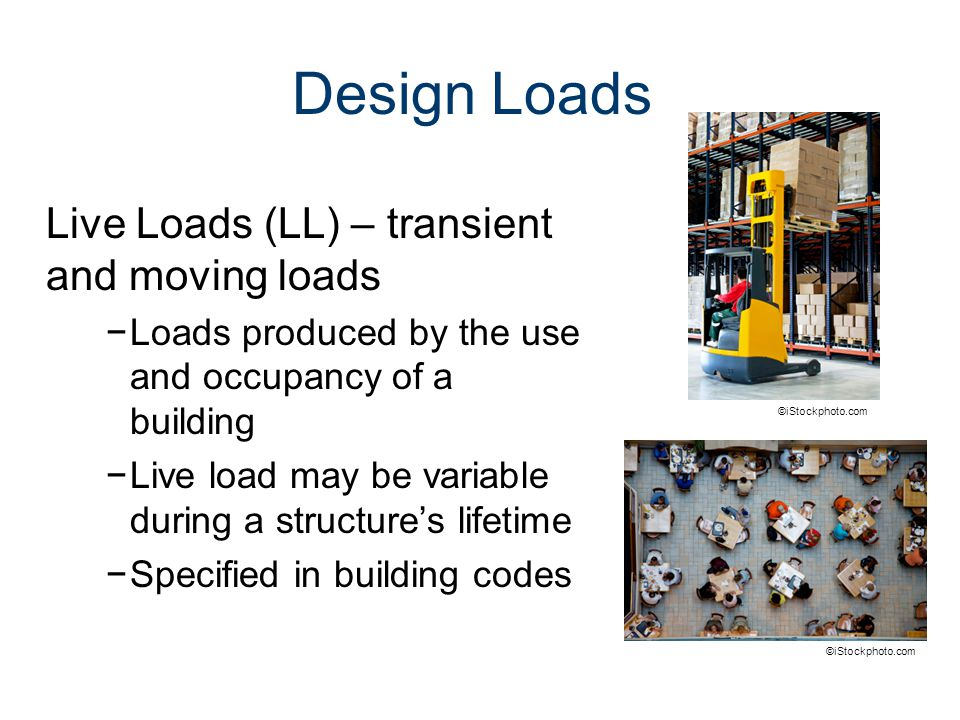 Design Loads Live Loads (LL) – transient and moving loads