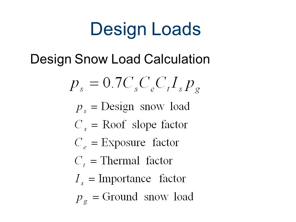 Design Loads Design Snow Load Calculation Loads and Load Paths